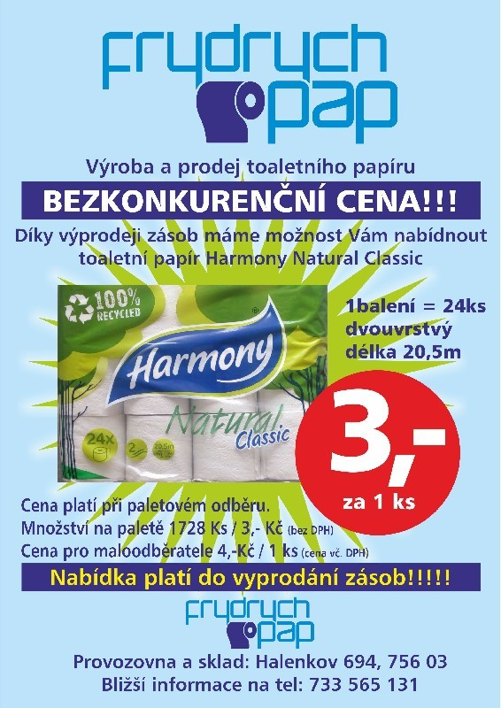 Toaletní papír za super cenu-výprodej skladu