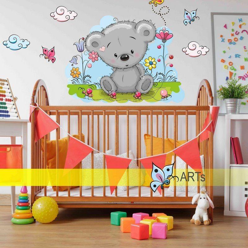 (3541f) Samolepka na stenu- Modrý medvídek na obláčku