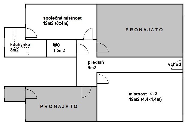 Pronájem 1x kancelář (19m2) + spol. místnost (12m2) + kuchyňka + soc. zař., Praha 10 (Hostivař)