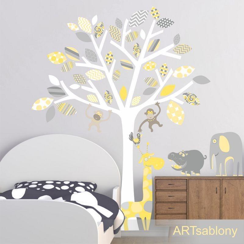 (3523nf) Nálepky na stěnu - Strom se zvířátky