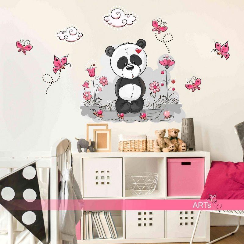 (3548f) Nálepky na zeď - Panda s kytičkami