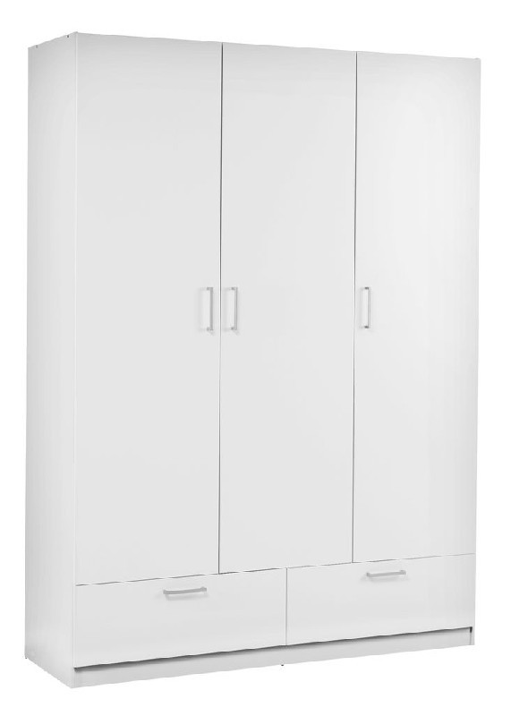 Bílá šatní skříň. 3 dveře 2 zás.