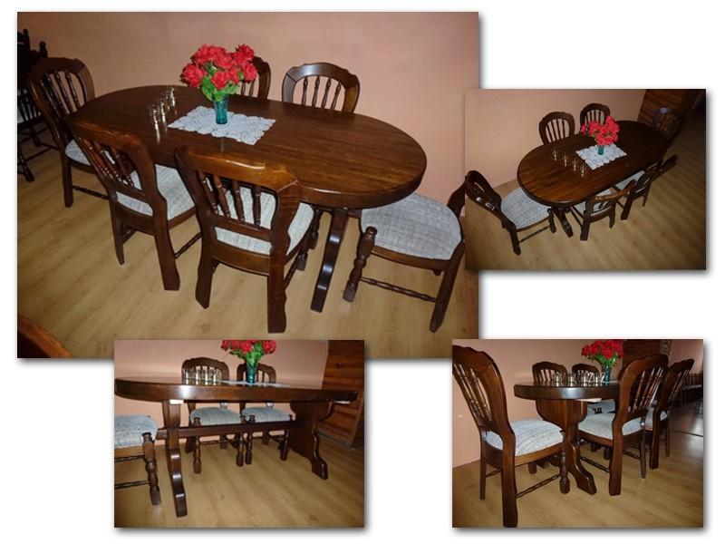 Levný jídelní stůl a židle - masivní dub